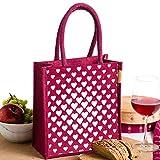 #10: H&B Women's Lunch bag/handbag/tote bag (Heart Square,Maroon, Size: 11x9x6 inches )