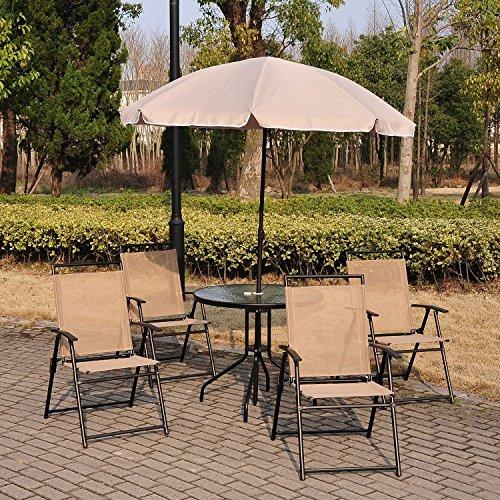 . Outsunny 6 PCs Garden Patio Furniture Set Bistro Set Textilene