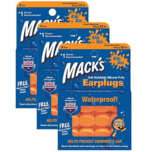 Mack's Schwimm-Ohrstöpsel für Kinder, Packung mit 6Paar–Orange (Lauten Rock)