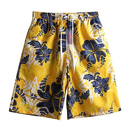 Schnelles Trockenbrett Kurzes Schwimmen Bade-Shorts Gelb & schwarz