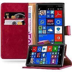 Cadorabo Coque pour Nokia Lumia 830 en Rouge Cerise - Housse Protection avec Fermoire Magnétique, Stand Horizontal et Fente Carte - Portefeuille Etui Poche Folio Case Cover