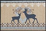 Wash&Dry 068273 Fußmatte Lovely Deers, 50 x 75 cm, beige