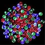LED Solar Powered outdoor christmas lights ,christmas tree lights,solar garden lights,outside String Light , Holiday Fairy Lights for Outdoor Gardens Patio Lawn Porch, Gate Yard Homes Christmas Parties, Weddings Xmas Easter Festivals (Multi, 100 LEDs)