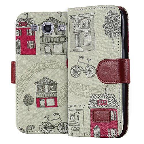 ECENCE Handyhülle Schutzhülle Case Cover kompatibel für Samsung Galaxy S3 i9300 S3 Neo i9301 Handytasche Retro Haus + Fahrrad 23030202