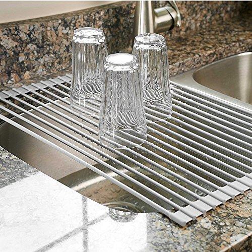 Xiton über das Waschbecken Mehrzweck Roll-up Geschirr Wschetrockner (Warm Grey, Large)