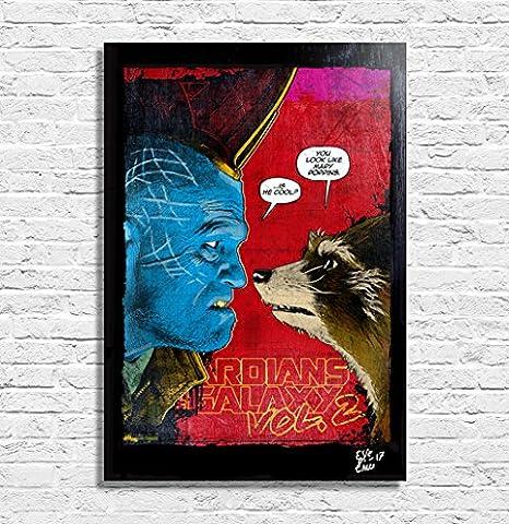 Rocket Raccoon et Yondu, Les Gardiens de la Galaxie vol. 2 Marvel - Illustration originale encadrée, peinture, presse artistique, poster, toile imprimée, art contemporain, image sur toile, affiche d'art, bandes dessinées, film