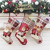 Calcetín de navidad 3 pcs,Medias de regalo de saco de Navidad para la decoración del árbol ,Adorno de Navidad Bolsa de dulces