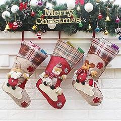 Idea Regalo - Charlemain Calza di Natale Set 3 Pezzi, Calza Natalizia 46cm Babbo Natale Pupazzo di Neve e Elk Calze Natalizie
