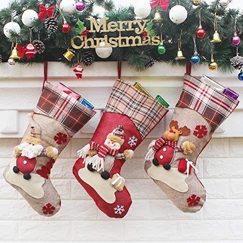 Charlemain Calza di Natale Set di 3 Sacchetti Regalo per Decorazione Albero di Natale...