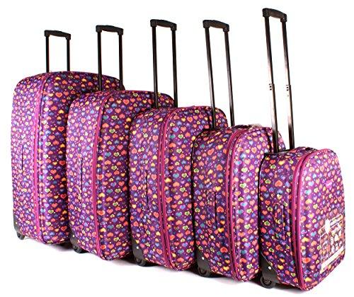 tc-hp-02 Violet Hearts bagages Lot de 5 – Funky léger Aero Voyage Valise