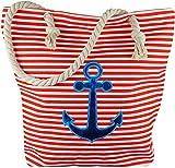Strandtasche Badetasche Einkaufstasche Damen Handtasche Picknicktasche Anker Blau Rot Weiß Gestreift mit Kordel inkl. Einkaufswagen Chip