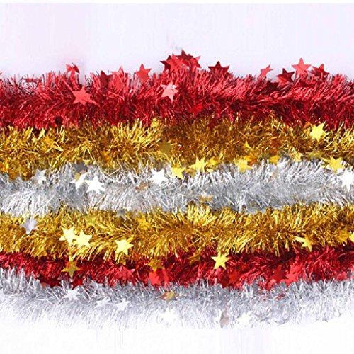 Preisvergleich Produktbild HuntGold 3X Sankt Weihnachten Weihnachtsbaum Hanging Pine Girlande mit Sterne Ferienwohnung Ornament Geschenk (gelegentliche Farbe)
