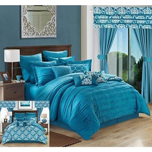 Chic Home 24Stück Hailee komplett Plissee Rüschen und wendbar bedruckt BED in a Bag Tröster Set mit Fenster Moxibustion. Blatt enthalten, Mikrofaser, blaugrün, Queen (24 Stück Tröster Set)