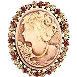 FENICAL Broche de Camafeo Vintage de Cabeza de Reina con Diamantes de Imitación Decoraciones de Ropas Regalo Ideal para Mujer