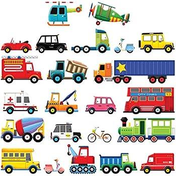 camion decorazione per la cameretta dei bambini palloncini camion dei vigili del fuoco Adesivo da pareteTuTuTu per auto ruspa WandSticker4U 240 x 110 cm Stra/ßenverkehr II grande