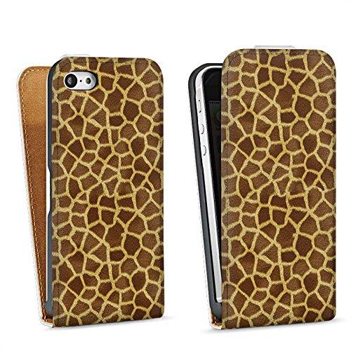 Apple iPhone 5s Housse Étui Protection Coque Look girafe Fourrure Animaux Sac Downflip blanc