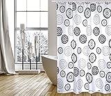 """MSV Cotexsa by Premium Anti-Schimmel Textil Duschvorhang - Anti-Bakteriell, waschbar, 100% wasserdicht, mit 12 Duschvorhangringen - Polyester, """"Dots"""" Schwarz/Weiß 180x200cm – Made in Spain"""
