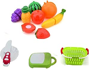 Amitasha Fruit Cutting Toys for Kids | Realistic Sliceable Fruits Cutting Play Set (Multi Color 11 Pcs)