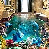 zyyaky Wallpaper 3D-Boden Malerei Wandbild Fototapete Unterwasserwelt Delfin Wohnzimmer Badezimmer