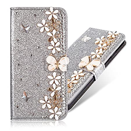 Slim Retro Bookstyle für Samsung A3 2017,Bling Glitter Glitzer Diamond Loves Musterg Ledertasche Stand Funktion Karteneinschub Magnetverschluss Flip Wallet Hülle Schutzhülle