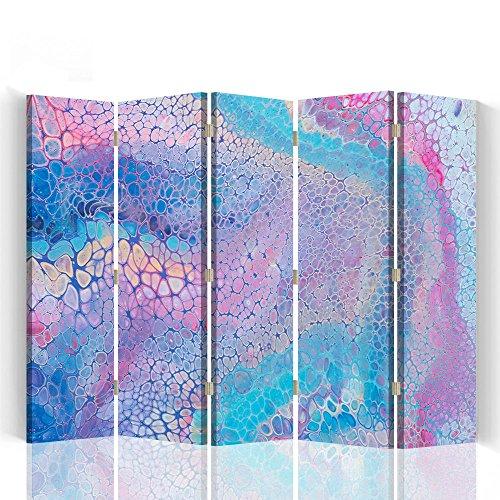Raumteiler Trennwände Foto Paravent Spanische Wand Bedruckt aufLeinwand Trennwand Deko Design Paravent beidseitig 5 teilig 180x150 cm Mayuko Miura Farbe Abstrakt Rosa Blau Violett