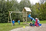 dein-spielplatz Spielturm Doppelschaukel Sandkasten Kletterseil - OBELIX XL - TÜV SÜD geprüft - OHNE Rutsche