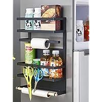 RETMI Étagère magnétique noire pour réfrigérateur - Organiseur à épices avec papier en bois - Porte-serviettes…