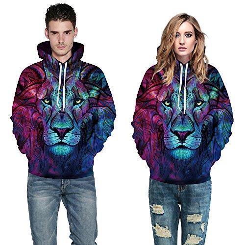 AMOMA Damen digitaldruck Kapuzenpullover Tops Unisex Hoodie Pullover Hooded Sweatshirt Lion