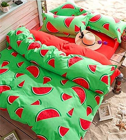 Bettwäsche-Sets dreiteiligen vier Sätze von Bettwäsche aus Baumwolle gelten Kissenbezüge (für 4 ft 5 ft 6 ft 6.6 ft 7 ft Bett) Wassermelone ( größe : 1.5m Bed )