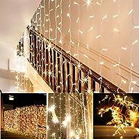 AGM LED Guirlande Lumineuses Rideau 300 LED 3Mx3M Rideau Lumineux étanche 8 mode d'éclairage pour Décoration intérieur et extérieur Maison, Jardin, Fête, Noël, Mariage, Anniversaire, Soirée(Blanc chaud)