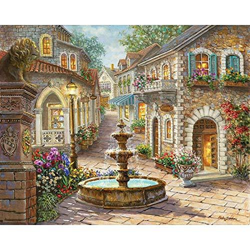 en Malbuch Erwachsene Brunnen Landschaft Dekor Art Färbung Nach Zahlen Modular Decor Art,Rahmenlos 40x50 cm ()