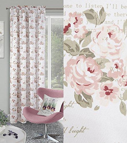 dekorativ vorhang kr uselband 140 250 cm fiore wei rosa wohnzimmer blumen muster blickdicht. Black Bedroom Furniture Sets. Home Design Ideas