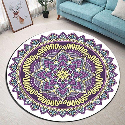 Indien,Mandala Buddhismus Blume,lila,weiß_Rund Fläche Teppich Wohnzimmer Schlafzimmer Badezimmer Küche Bodenmatte Inneneinrichtung,120x120 - Küche-teppich-blumen