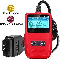 OBD2 Auto Diagnosegerät, KANN OBDII Diagnosis Codeleser Moto Licht Fehlercode mit LCD Bildschirm, Universal Auto KFZ Diagnosegerät mit Standard 16-pin für Alle Fahrzeuge EOBD/OBD2 Protokolle Auto seit 1996 Unterstützung Multi-Sprachen