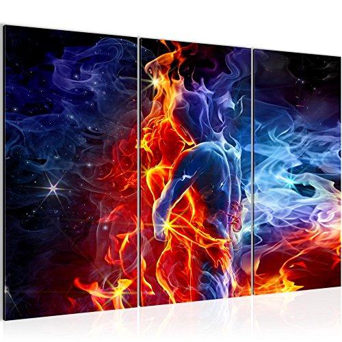 Bilder Feuer und Eis Figuren Wandbild 120 x 80 cm Vlies - Leinwand Bild XXL Format Wandbilder Wohnzimmer Wohnung Deko Kunstdrucke Rot Blau 3 Teilig - MADE IN GERMANY - Fertig zum Aufhängen 401031a