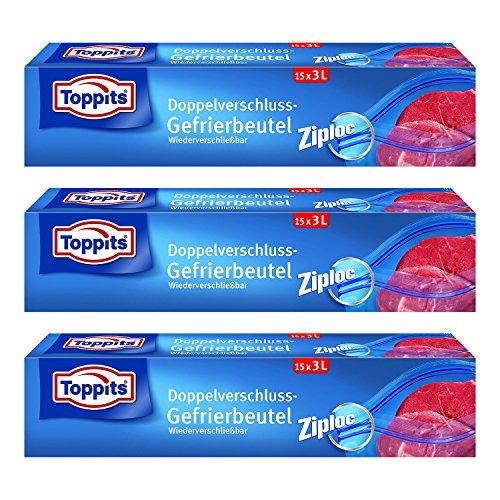 Toppits Double fermoir Sacs 3L (27 x 24 cm), Lot de 3 (3 x 15 sachets)