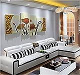 ZZZSYZXL Soggiorno divano sfondo pittura decorativa 4pcs in pelle dipinta a mano rilievo tridimensionale , beige