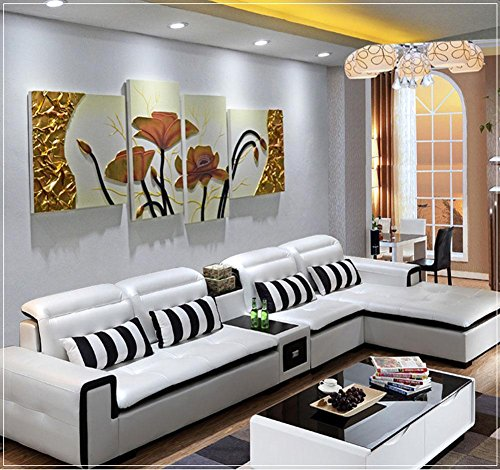 Wohnzimmer Sofa (ZZZSYZXL Wohnzimmersofa Hintergrund dekorative Malerei 4pcs handgemaltes Leder dreidimensionalen Relief , beige)
