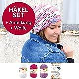 myboshi Mützen Häkelset Sommer Beanie Iga (85% Baumwolle 15% Kapok) Anleitung + Häkelgarn + selfmade Label Farben (magenta, weiß, candy, ohne Häkelnadel)