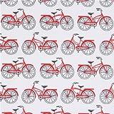 Tela blanca con bicicletas bicis rojas de Robert Kaufman Everyday Favorites