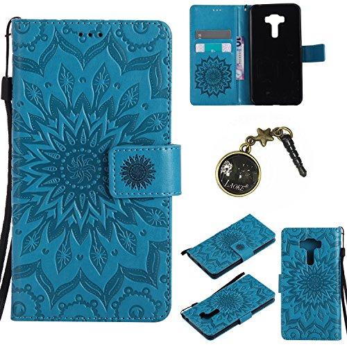 Preisvergleich Produktbild für Asus ZenFone 3 (ZE552KL) Hülle,Hochwertige Kunst-Leder-Hülle mit Magnetverschluss Flip Cover Tasche Leder [Kartenfächer] Schutzhülle Lederbrieftasche Executive Design +Staubstecker (6GG)