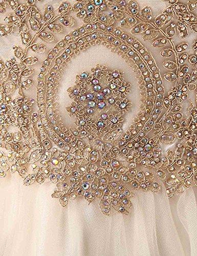 Sarahbridal Damen Kurz Abschlusskleider Tüll durchsichtig Rückenfrei mit Glanz Stein Ausschnitt Ballkleid Abendkleider SAJ032 028-Burgund