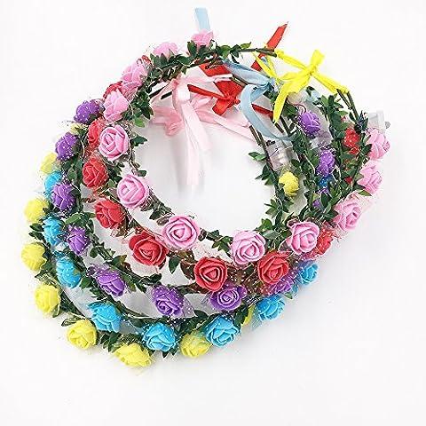 5-set lumière LED Floral Couronne Couronne, fleur Tiare Accessoires Guirlande Bandeau élastique Demoiselle d