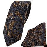 schmale TigerTie Krawatte + Einstecktuch in braun bronze gold blau schwarz Paisley gemustert