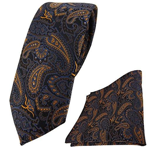 TigerTie schmale Krawatte + Einstecktuch in braun bronze gold blau schwarz Paisley gemustert