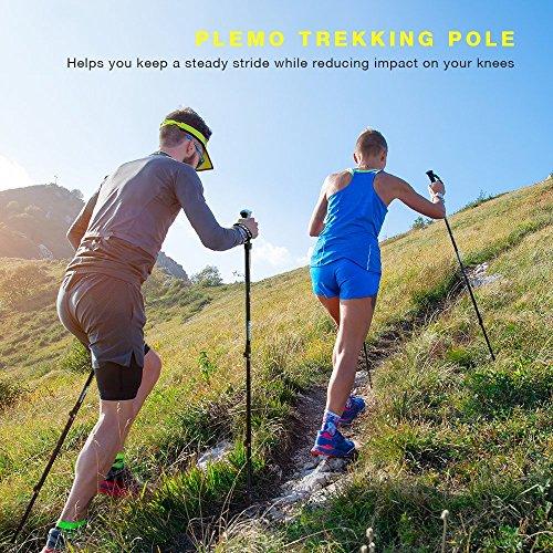 PLEMO 2-Stücke Nordic Walking Stöcke Wanderstöcke Trekkingstöcke 7075 Aluminium - für Wandern Spazieren Schneewandern Hiking - Ausgefahren von 68cm auf 135cm - Eingebaut mit Schließbügel, Bolzen und Handschlaufen -