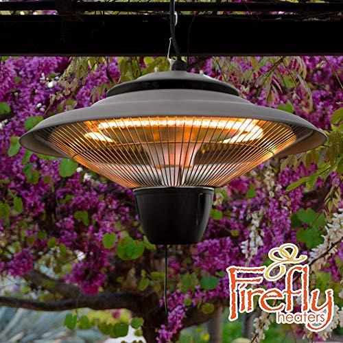 Firefly 1.500 Watt Infrarot-Heizstrahler (Halogen) Terrassenheizung, Deckenmontage (Silber)