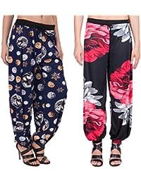 Adonia Women's Poly-Knit Lycra Printed Harem Pants ( Combo Of 2 ) - B0751GC3Z1