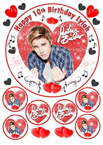 essbar personalisierbar Justin Bieber Kuchen Topper & Extra 's ungeschliffen Zuckerguss Tabelle (Justin Bieber Geburtstag-dekorationen)