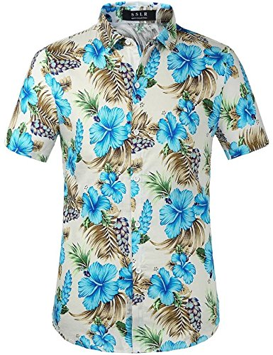 SSLR Herren Hawaiihemd Kurzarm Blumen 3D Gedruckt Baumwolle Freizeithemd Button Down Aloha Shirt für Reise Strand (Large, Weiß Hibiskus) (Hawaii Hibiskus Aloha-shirt)